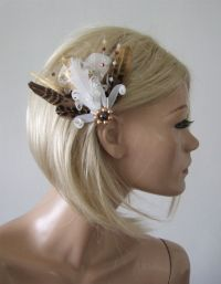 White Brown Gold Pheasant Feathers Rustic Bridal Wedding ...